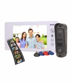 """Zestaw wideodomofonowy bezsłuchawkowy, kolor, 7"""" LCD, pin hole, pamięć, z czytnikiem breloków zbliżeniowych, biały, ARCUS RFID O"""
