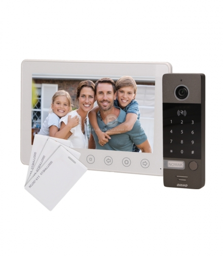 """Zestaw wideodomofonowy, bezsłuchawkowy, kolor, LCD 7"""", z szyfratorem i czytnikiem kart zbliżeniowych, biały, NUMERUS RFID Orno O"""