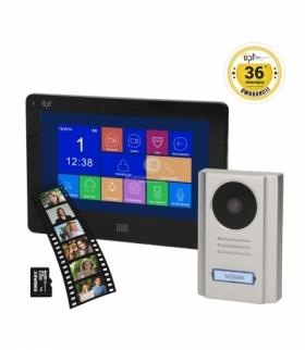 """Zestaw wideodomofonowy OPT bezsłuchawkowy kolor 7"""" czarny, dotykowy, menu OSD, pamięć, gniazdo na kartę SD, DVR, SALUS MEMO"""