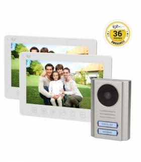 """Zestaw wideodomofonowy 2-rodzinny OPT bezsłuchawkowy, kolor 7"""", menu OSD, natynkowy, BIAŁY, PARS MULTI"""