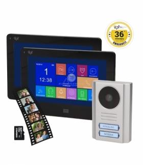 """Zestaw wideodomofonowy 2-rodzinny OPT bezsłuchawkowy, kolor 7"""", dotykowy, gniazdo kart SD, menu OSD, DVR, SALUS MEMO MULTI"""