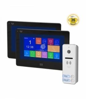 """Zestaw wideodomofonowy 2-rodzinny, bezsłuchawkowy, kolor, LCD 7"""", dotykowy, gniazdo na kartę SD, menu OSD, DVR, REGINA MEMO MULT"""