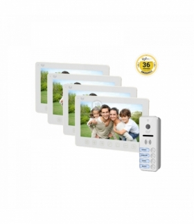 """Zestaw wideodomofonowy 4-rodzinny, bezsłuchawkowy, kolor, LCD 7"""", menu OSD, natynkowy, biały, FORTIS MULTI Orno OR-VID-EX-2011/W"""