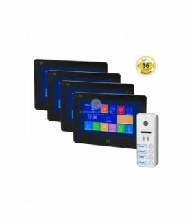 """Zestaw wideodomofonowy 4-rodzinny, bezsłuchawkowy, kolor, LCD 7"""", dotykowy, gniazdo na kartę SD, menu OSD, DVR, REGINA MEMO MULT"""