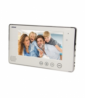"""Wideo monitor bezsłuchawkowy, kolorowy, LCD 7"""", do zestawów z serii ARX i CRUX, otwieranie bramy, biały Orno OR-VID-VP-1009MV/W"""