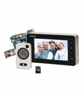 """Elektroniczny wizjer do drzwi 4,7"""" z funkcją nagrywania na kartę Micro SD, czujnikiem ruchu i menu w 9 językach, bateryjny Orno"""