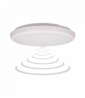 CERS LED, plafon z mikrofalowym czujnikiem ruchu, 16W, 1300lm, IP54, 4000K, poliwęglan mleczny, biały, funkcja przyciemnienia Or