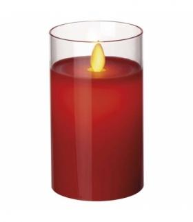Świeca 12,5 cm szkło czerwona 2× AA, VNT EMOS ZY2291