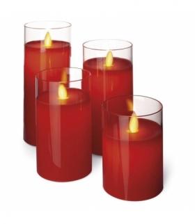 Świece 10/12,5/15/17,5 cm szkło czerwone 8× AA, VNT EMOS ZY2289