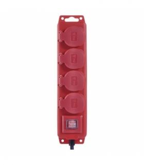 Przedłużacz z wyłącz. 4 gn, 5m 1,5mm, IP44 guma, czerwony EMOS P14151