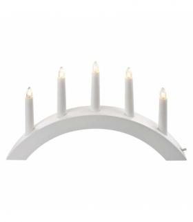 Dekoracje - świecznik drewniany łuk biały 15W (5× żar. E10) EMOS ZY2217