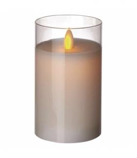 Świeca 12,5 cm szkło biała 2× AA, VNT EMOS ZY2290