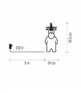 Dekoracje - 40 LED renifer 24×35 cm IP44, CW, timer EMOS ZY2292