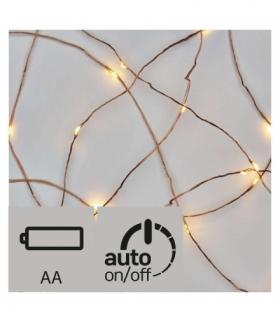 Dekoracje - 10 LED łezki 0,9m 2× AA IP20 WW, miedź, timer EMOS ZY2195