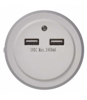 Lampka nocna 3× LED do gniazdka 230V, 2× USB, czujnik PIR EMOS P3313