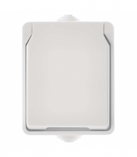 Gniazdo pojedyncze IP54 białe EMOS A1397.2
