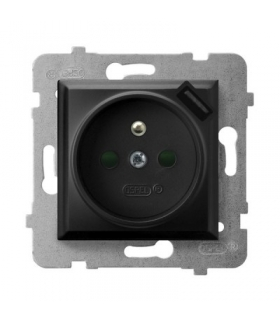Gniazdo pojedyncze z uziemieniem z przesłonami torów prądowych, z ładowarką USB CZARNY METALIK