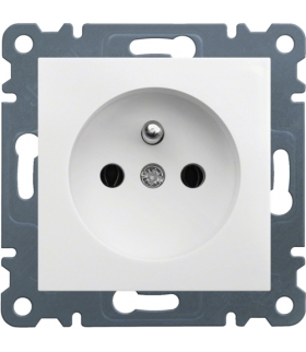 lumina Gniazdo zasilające z uziemieniem, 16A/250VAC, biały Hager WL1020