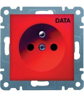 lumina Gniazdo zasilające z uziemieniem, 16A/230V, nadruk DATA, czerwony Hager WL1029