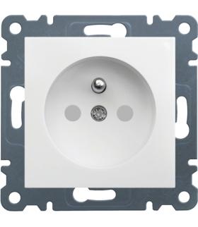 lumina Gniazdo zasilające z uziemieniem, przesłony styków, 16 A/250 VAC, biały Hager WL1040