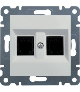 lumina Gniazdo telefoniczne podwójne RJ11, biały Hager WL2020