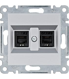 lumina Gniazdo telefoniczne podwójne RJ11, srebrny Hager WL2022