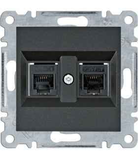 lumina Gniazdo telefoniczne podwójne RJ11, czarny Hager WL2023
