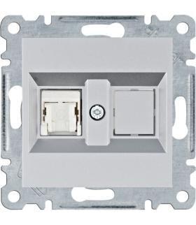 lumina Gniazdo komputerowe pojedyncze RJ45 kat.5e UTP, srebrny Hager WL2112