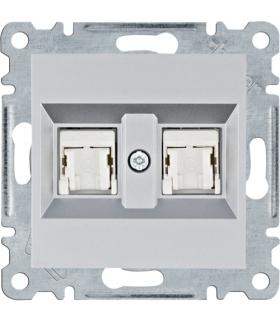 lumina Gniazdo komputerowe podwójne RJ45 kat.5e UTP, srebrny Hager WL2122