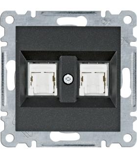 lumina Gniazdo komputerowe podwójne RJ45 kat.5e UTP, czarny Hager WL2123