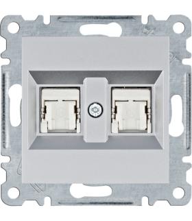 lumina Gniazdo komputerowe podwójne RJ45 kat.5e FTP, srebrny Hager WL2142