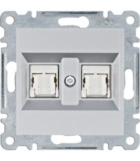 lumina Gniazdo komputerowe podwójne RJ45 kat.6 UTP, srebrny Hager WL2162