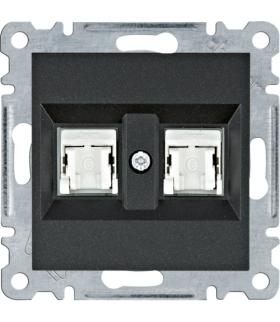 lumina Gniazdo komputerowe podwójne RJ45 kat.6 UTP, czarny Hager WL2163