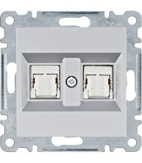 lumina Gniazdo komputerowe podwójne RJ45 kat.6 FTP, srebrny Hager WL2182