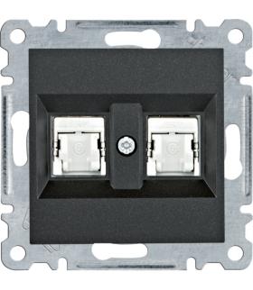 lumina Gniazdo komputerowe podwójne RJ45 kat.6 FTP, czarny Hager WL2183