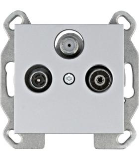 lumina Gniazdo RTV-SAT przelotowe, srebrny Hager WL3122