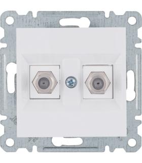 lumina Złącze podwójne typu F, biały Hager WL3260