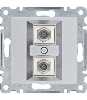 lumina Złącze podwójne typu F, srebrny Hager WL3262