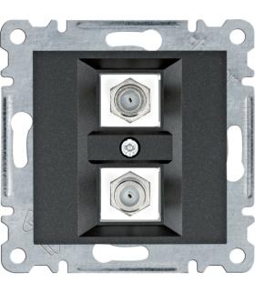 lumina Złącze podwójne typu F, czarny Hager WL3263
