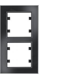 lumina passion Ramka 2-krotna pionowa, szkło czarne Hager WL9121