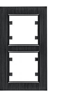 lumina passion Ramka 2-krotna pionowa, aluminium czarne Hager WL9123
