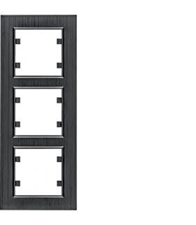 lumina passion Ramka 3-krotna pionowa, aluminium czarne Hager WL9133