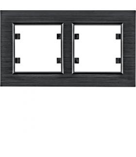 lumina passion Ramka 2-krotna pozioma, aluminium czarne Hager WL9223