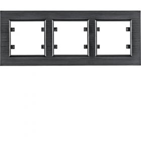lumina passion Ramka 3-krotna pozioma, aluminium czarne Hager WL9233