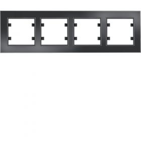 lumina passion Ramka 4-krotna pozioma, szkło czarne Hager WL9241