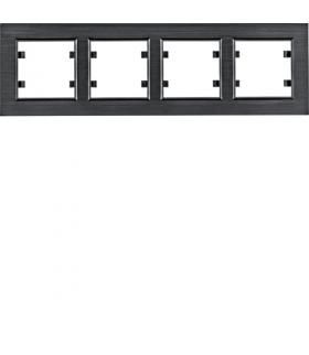 lumina passion Ramka 4-krotna pozioma, aluminium czarne Hager WL9243
