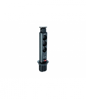 Biurkowy przedłużacz wpuszczany 60mm, 3x schuko, 2xUSB 2,1A 5V (czarny)