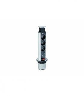 Biurkowy przedłużacz wpuszczany 60mm, 3x schuko, 2xUSB 2,1A 5V (srebrny)