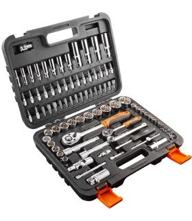 Zestaw kluczy nasadowych 1/2 i 1/4 NEO 86 elementów