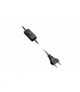 Kabel zasilający z wtyczka, z włącznikiem, 2m, czarny, 2x0,75mm2
